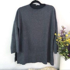 Zara trafaluc stretchy knit side slit crew neck